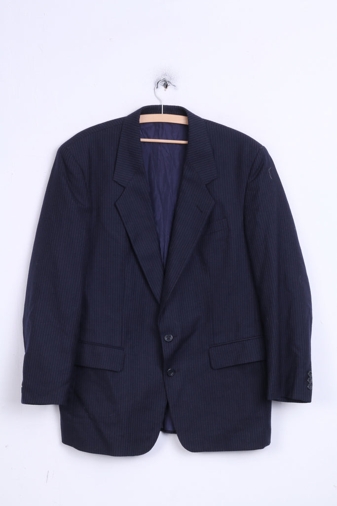 Devereaux Mens 44 XL Blazer Jacket Navy Striped Single Breasted Wool