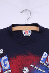 Paris Saint-Germain Mens S T-Shirt Graphic Crew Neck Cotton Navy PSG Football