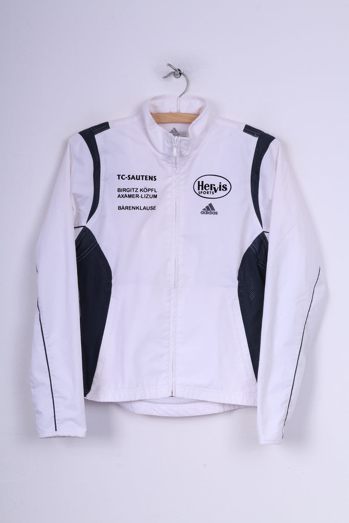 Adidas Hervis Sports Tc-Sautens Womens 10 S Lightweight Jacket White Full Zipper Sportswear