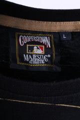 Majestic Athletic Cooperstown Mens L T-Shirt Black Cotton Golg New York Yankees
