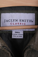 JACLYN SMITH Classic Womens S Jacket Leather Khaki Full Zip