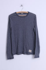 Hollister California Womens M Shirt Grey Striped Cotton Long Sleeve Stretch Top