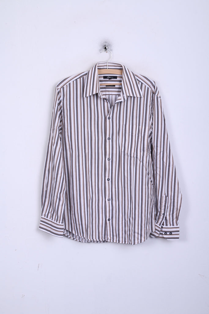 s.Oliver Mens M 39 Casual Shirt Brown Striped Cotton Long Sleeve