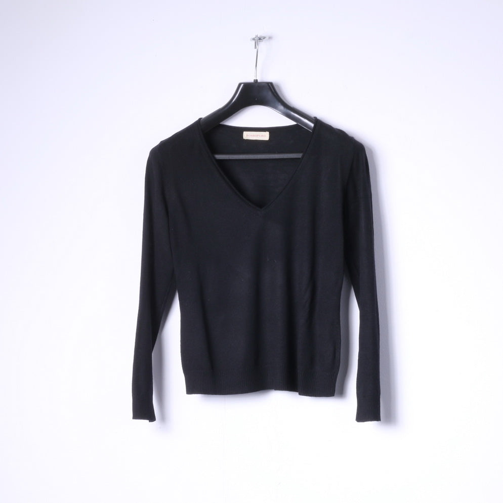 Rossopuro Womens S Jumper Black Classic V Neck Soft Sweater Light Top