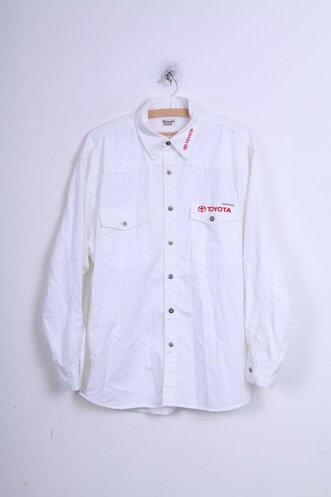 BARMS PARIS Mens M Casual Shirt Toyota White Cotton Long Sleeve