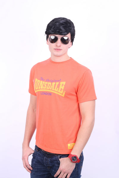 Lonsdale London Mens S T-Shirt Classic Logo Lion Orange Top Training - RetrospectClothes