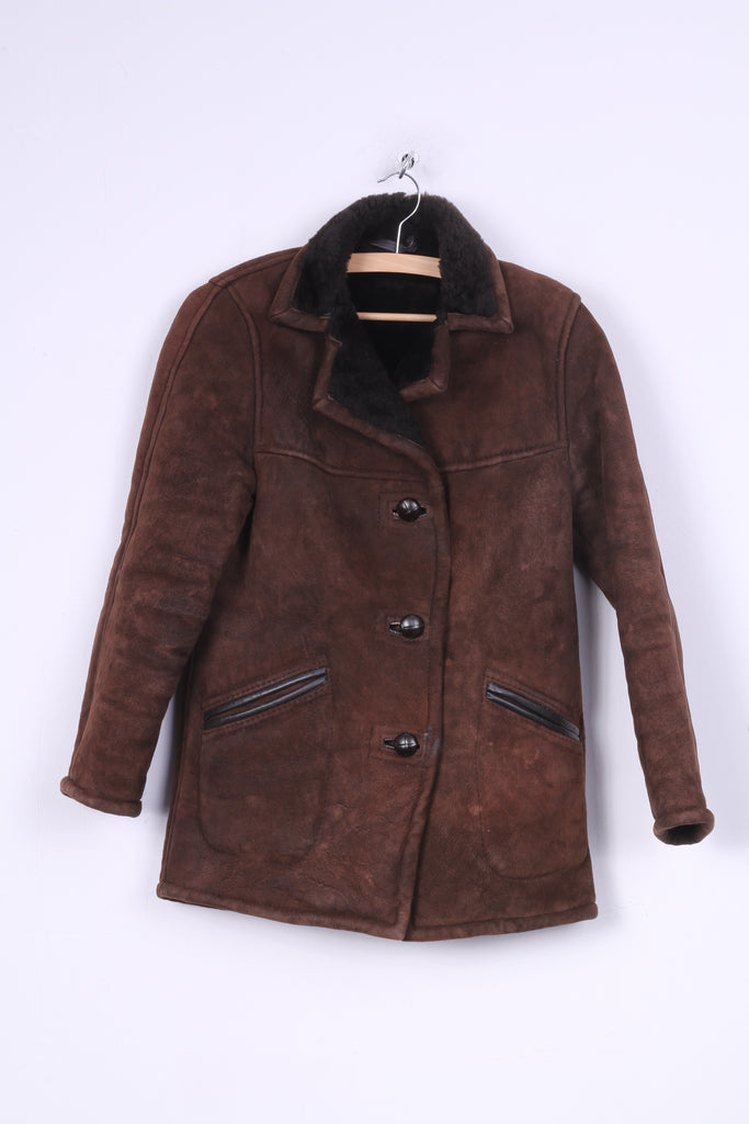 Vintage Womens S Leather Jacket Sheepskin Single Breasted Brown