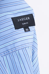 Jaeger Mens 16.5 M Formal Shirt Striped Blue Cotton Slim Fit Cufflinks - RetrospectClothes