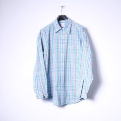 Brooks Brothers Mens L (XL) Casual Shirt Multicoloured Check Cotton Long Sleeve Top