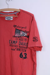 Camp David Mens XXL T-Shirt Peach Cotton Embroidered Motorcycle Heritage