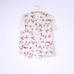 Blue Chameleon Womens 16 L Blouse Beige Flower Butterfly Print Cotton Top Short Sleeve