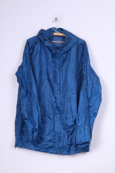 Urban Espace Unisex XL Rain Jacket Waterproof Blue Full Zipper
