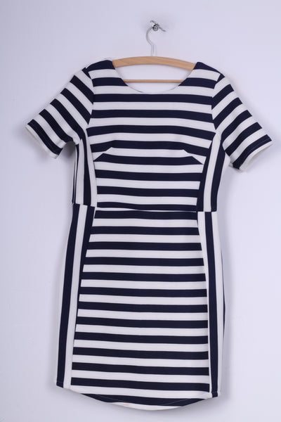 Angel Paris Womens 14 L  Mini Dress Striped Short Sleeve Crew Neck White Navy