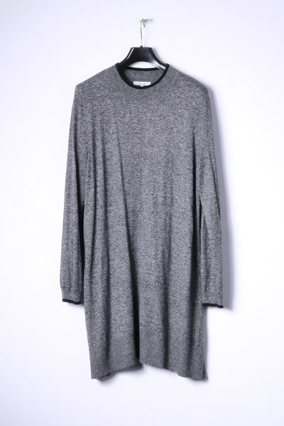 Peacocks Womens 18 46 XXL Long Jumper Grey Nylon Cotton Blend Soft Dress