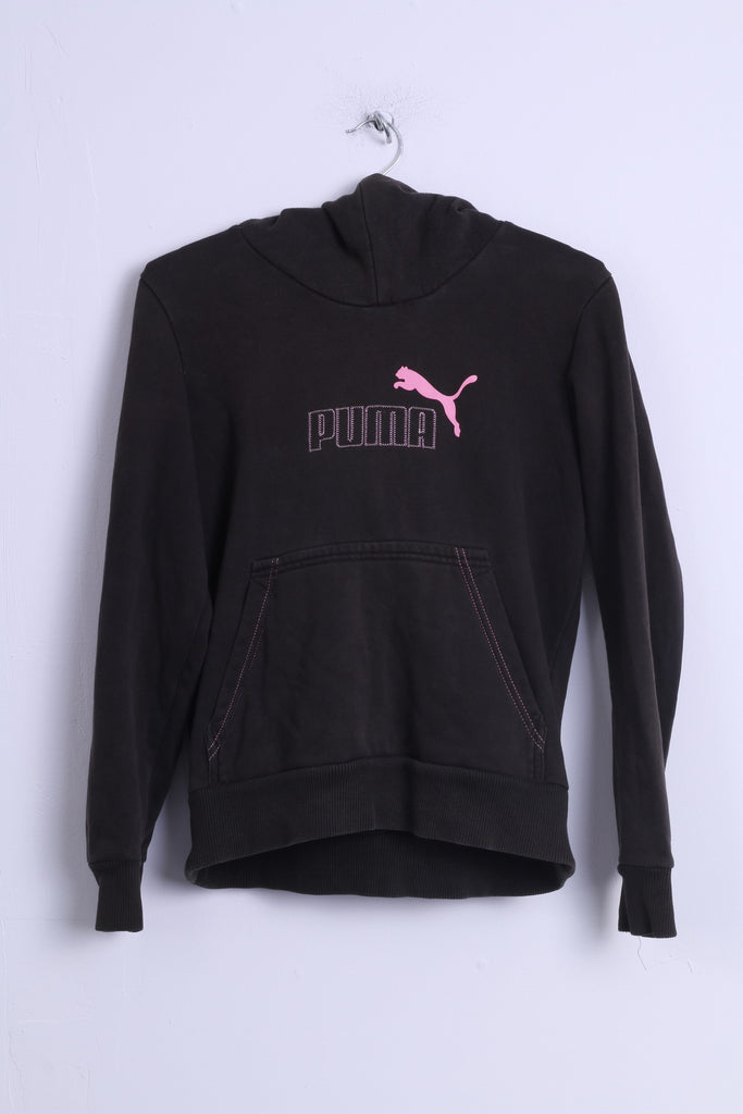 Puma Womens M Sweatshirt Black Cotton Hooded Kangaroo Pocket Top