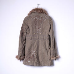 River Island Womens 34 8 S Jacket Brown Cotton Long Emroidered Fur Collar Coat