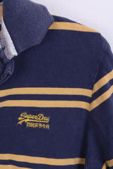 Superdry Mens S Polo Shirt Blue Striped Cotton Short Sleeve