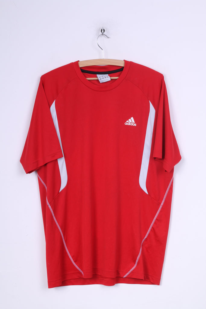 Adidas Mens L Shirt Jersey Red Sport Training 3Stripe