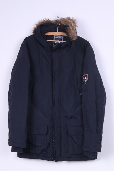 Polarnorth United Team Mens M 48/50 Jacket Parka Navy Padded Hooded Nylon Waterproof