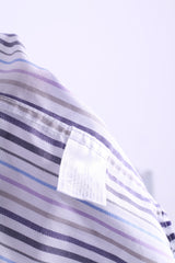Daniel Hechter Mens 15 S Casual Shirt Cotton White Striped - RetrospectClothes