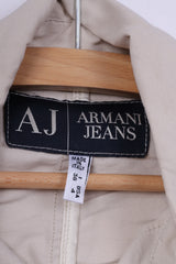 Armani Jeans Womens 8 36 S Cropped Blazer Beige Viscose Italy Single Breasted Jacket