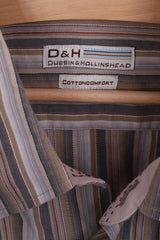 Dubbin & Hollinshead Mens XL Casual Shirt Striped Cotton Long Sleeve