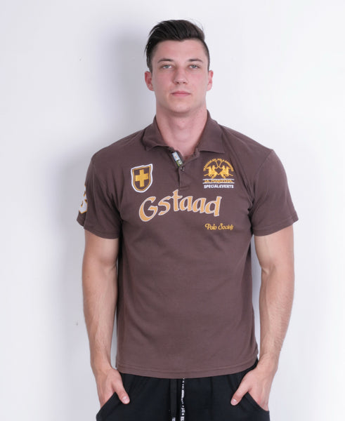 La Martina Mens XXL Polo Shirt Brown Argentino Short Sleeve Cotton - RetrospectClothes
