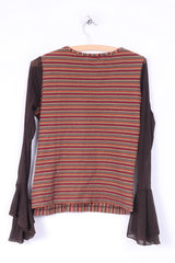 Passport Ambition Womens L Shirt Long Sleeve Graphic  Striped Orange Mesh Sleeve Vintage
