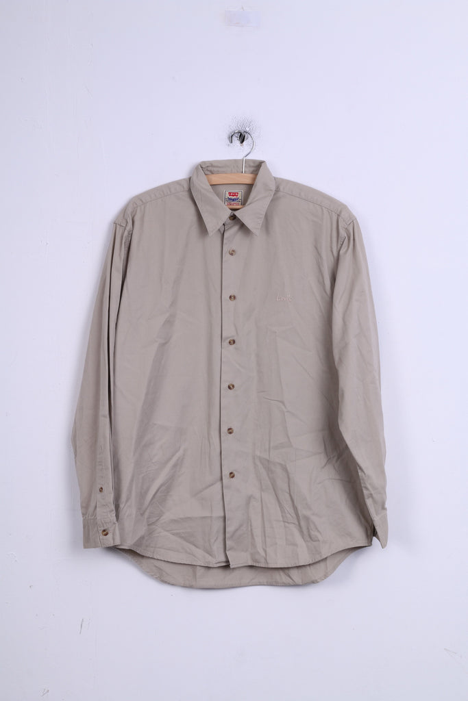 Levi's Mens M Casual Shirt Beige Cotton Detailed Buttons Long Sleeve