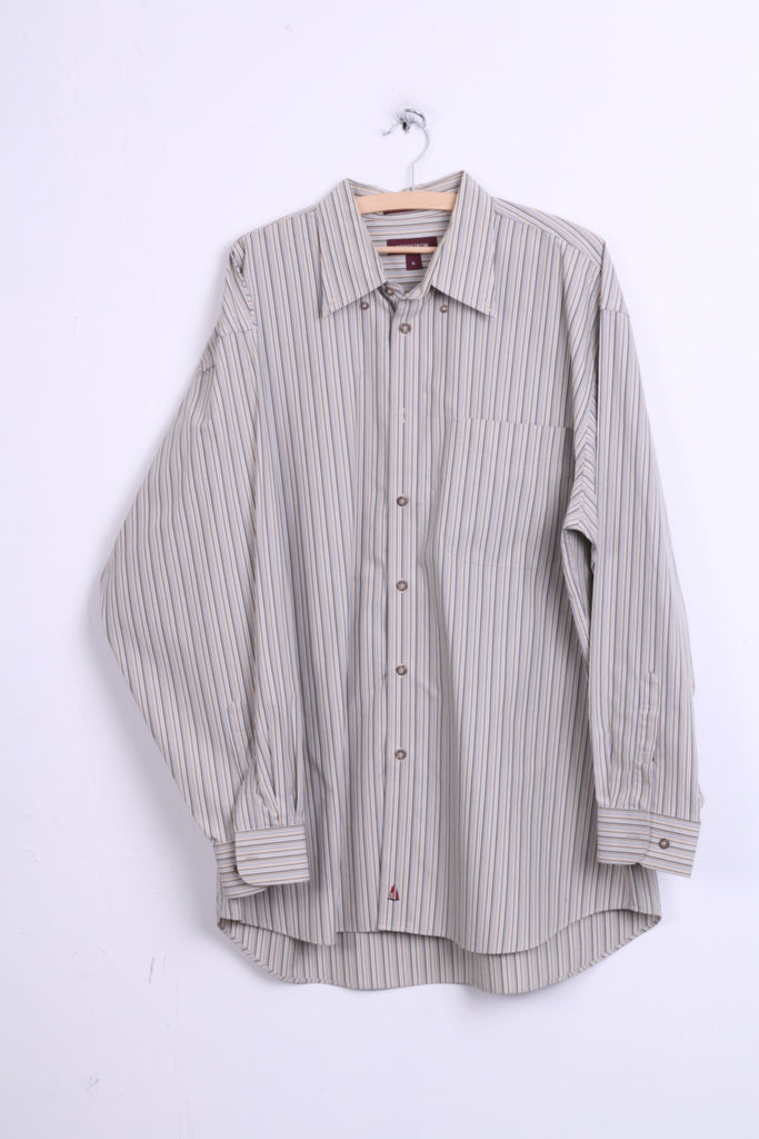 Nordstrom Mens XL Casual Shirt Cotton Striped Beige Color Button Down Collar - RetrospectClothes
