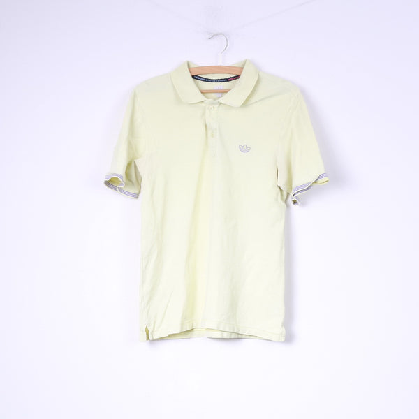 Adidas Mens M Polo Shirt Yellow Buttons Detailed Top 3 Stripes