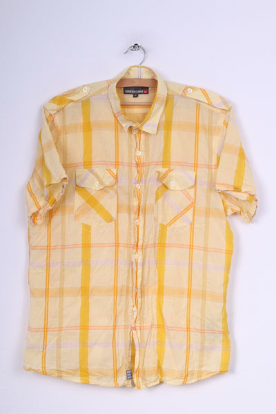 Duck and Cover Mens XL Casual Shirt Yellow Check Short Sleeve