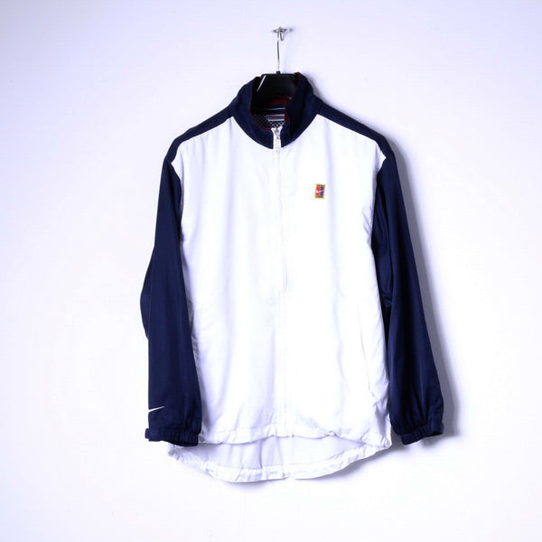 Nike Mens S 173 Jacket White Navy Lightweight Zip Up Golf Classic Top