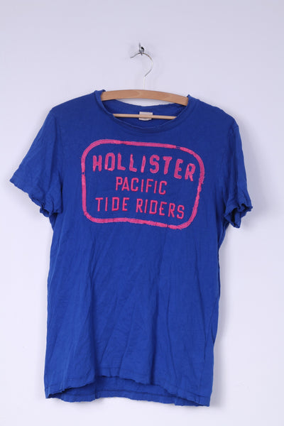 Hollister California Mens M Graphic Shirt Blue Cotton Crew Neck Pacific