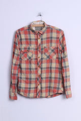 Easy Mens S Casual Shirt Yellow Multi Checkered Cotton Long Sleeve