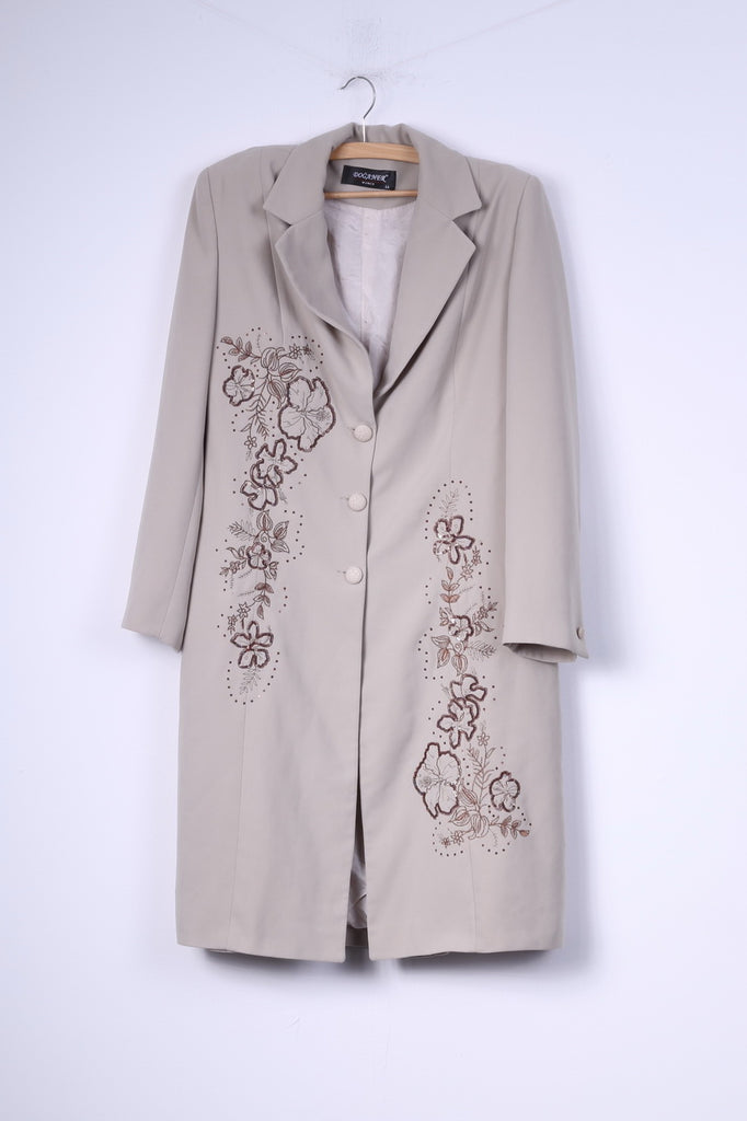 Doganer Womens 44 (L) Coat Single Breasted Beige Shoulder Pads Embroidered Flowers