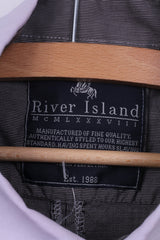 River Island Mens XL Casual Shirt Black Striped Long Sleeve Cotton