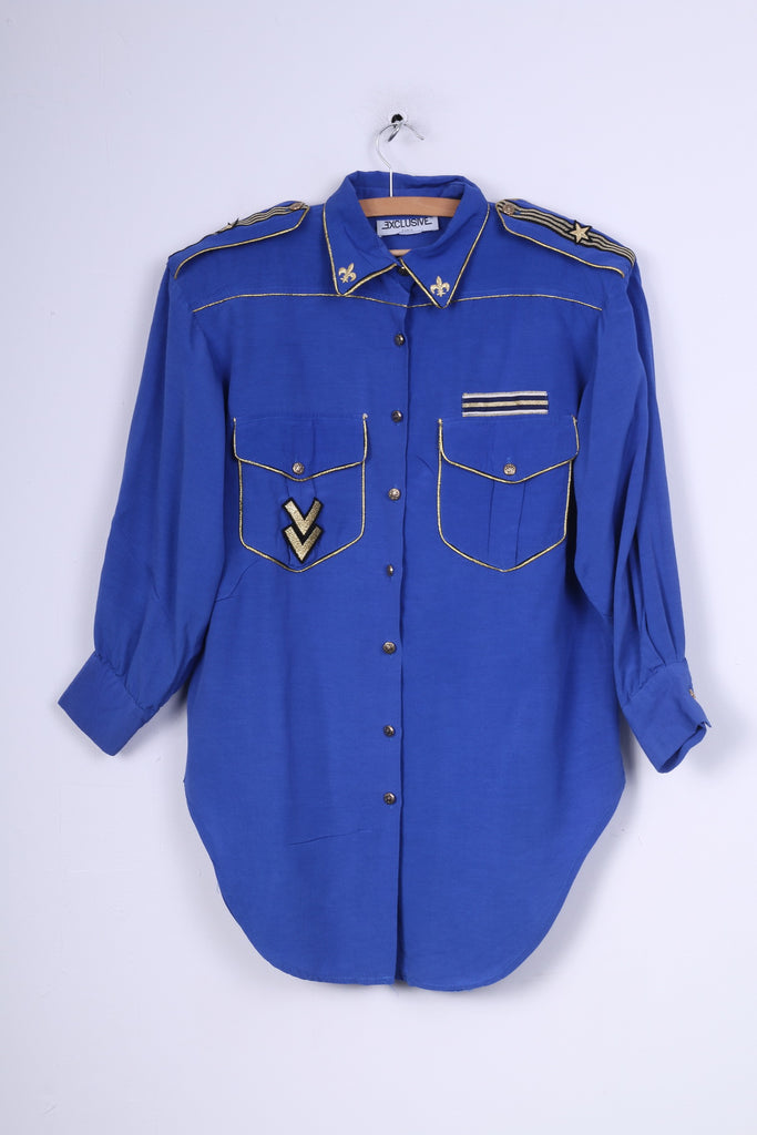 Exclusive Paris Womens L Casual Shirt Cobalt Shoulder Pads Gold Detailed Vintage