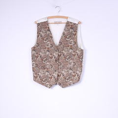 Basic Quality Womens 42/44 L Waistcoat Brown Embroidered Cotton Vest Top