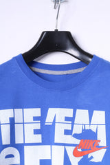 Nike Mens S T-Shirt Blue Cotton Graphic Logo Tee Crew Neck Top