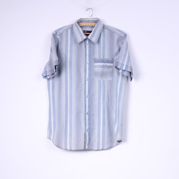 Diesel Mens M Casual Shirt Blue Striped Cotton Short Sleeve Top