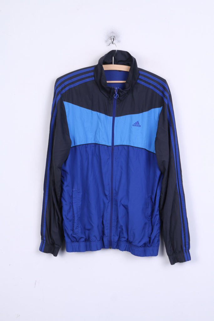 Adidas Mens M Jacket Track Top Blue Training Sportswear Two Pockets