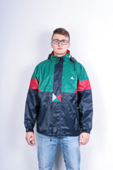 Titanic Mens L XL Vintage Jacket Parka Hood Shiny Navy Blue Green Festival - RetrospectClothes