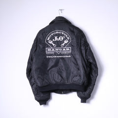 Motorcycle J&O's Mens XL Jacket Black Flyers Full Zipper Nylon Bomber Top