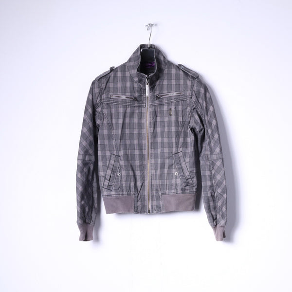 Diesel Womens M (S) Jacket Grey Check Cotton Multi Pockets Full Zippered Top