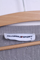 Hilfiger Sport Womens L (S) Jumper Grey Stretch V Neck Sweater Italy