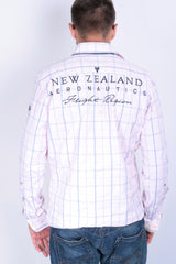 New Zealand Aeronautics Mens S Casual Shirt Pink Check - RetrospectClothes