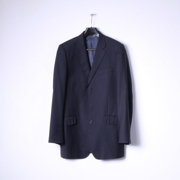 JAEGER Mens 40L Blazer Navy Striped 100% Wool Single Breasted Jacket