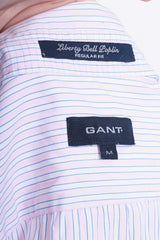 Gant Mens M Casual Shirt Striped White Cotton Liberty Bell Poplin Regular Fit - RetrospectClothes