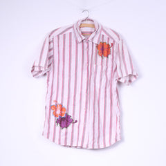 Tom Tailor Mens M Casual Shirt Pink Striped Short Sleeve Flowers Top Cotton